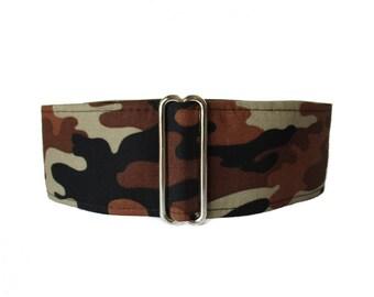 1.5 Inch Martingale Collar Boy, Camo Martingale Collar, Wide Dog Collar, Camo Dog Collar, Brown Martingale Greyhound Collar Brown Dog Collar
