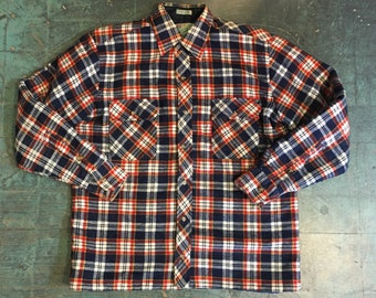 Vintage mens lined plaid flannel shirt jacket by Outdoor Exchange  // unisex medium