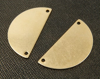 RAW BRASS half moon pendant, RBC-C2, 30 pcs, 2 holes, 35x18mm, For plating