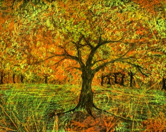 Autumn forest landscape, dancing tree figures, pagan imagery, fall colors, goddess tree, Autumn Equinox