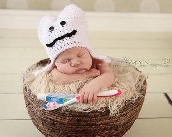 Newborn Tooth Hat Crochet dentist Photo Prop Baby