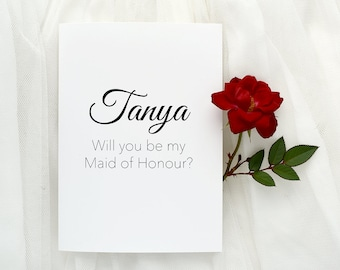 Maid of Honour Card, Bridal Party Proposal, Custom card, Maid of honour, Be my maid of honour, personalised card, wedding party, gift card