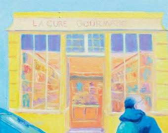 PARIS painting, Original oil Paris street scene, Paris decor, shop, city art, cafe art, kitchen decor, Jan Matson
