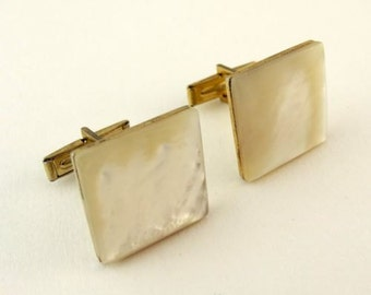 Vintage Cufflinks White Mother-of-Pearl MOP Square Cuff Links 1960s 70s