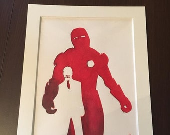 Original watercolour painting of Iron man