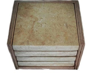 Marble Coasters in Wooden Case and Square Shape!Holiday Gift Greek Designers Artdesign