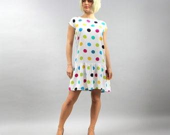 80s Rainbow Polka Dot Drop Waist Dress. vintage Rockabilly Pin up White Cotton Dress . Mini Summer Swing Dress. Skater Vacation Dress M