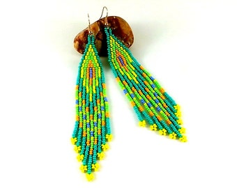 Statement Jewelry Hippie earrings Turquoise jewelry Ethnic earrings Turquoise earrings Beaded earrings native Extra long earrings Dangle