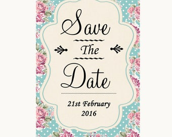 Vintage Shabby Chic Rose Save The Date Personalised Wedding Sign
