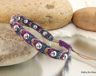 Macrame Bracelet - Multi Color with Sterling Silver Beads Bracelet - KTBL