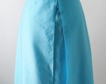 1960s Vintage Maxi Dress in Blue and White