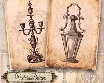 Vintage Candles ATC digital background instant download printable images collage sheet VD0055