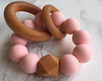 Pink Silicone and Wood Teether