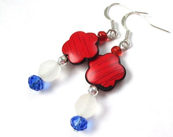 Patriotic American Flower Earrings, Red White & Blue July 4th Floral Jewelry, Silver Ear Wires, Beaded Dangles E513