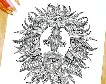 Hairy Lion - Adult Coloring Page Print