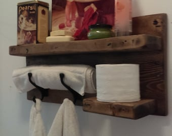 Rustic distressed bathroom shelf, towel and robe hanger, bathroom storage, decor, re-claimed wood, weathered barnwood