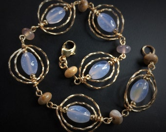 Serenity Blue Chalcedony Bracelet in Gold with Imperial Jasper, Gift for Her, Blue & Gold, Modern Jewelry