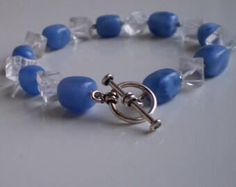 Denim Lapis and Quartz Crystal Bracelet