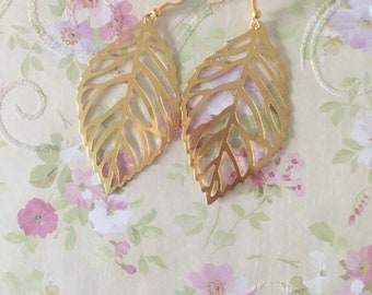 Gold leaf earrings delicate gold filigree leaf earrings long earrings