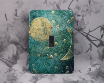 Metal Moon Light Switch Covers - Moon and Stars - 1T Single Toggle - Nebra Sky Disk