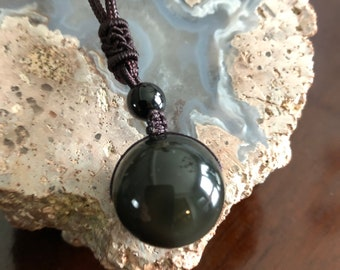 Rainbow Obsidian Sphere Necklace (20 mm)