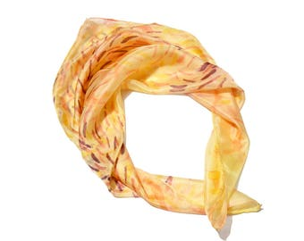 Small Silk Scarf- Square yellow scarf- Bandanna scarf- Abstract silk scarf- Silk scarf pastel- Hand painted neck scarf- Womens scarves