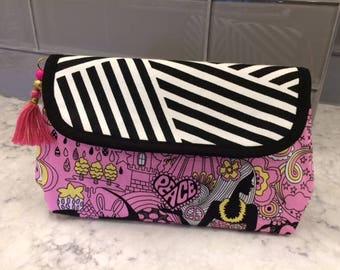 Hawaiian Makeup Bag with Brush Holder. Makeup Bag. Cosmetic Bag. Makeup Organizer. Travel Bag.