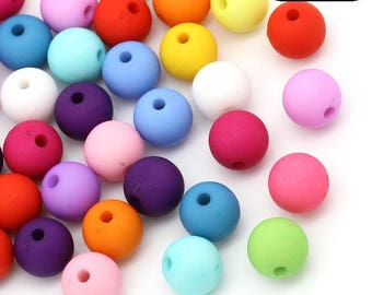 Pastel 8mm acrylic round spacer beads