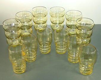 Federal Glass Lido Golden Glow 9 oz. Tumblers (6), Tudor Ring Yellow Juice Glasses (6), Optic Rings