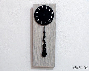 Stable Hand, Rotating Numbers  - Wooden Wall Clock
