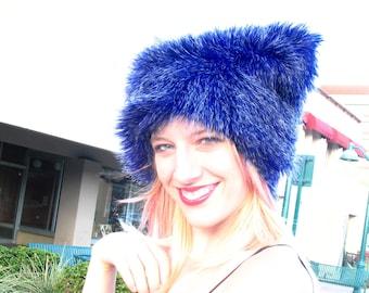 Grizzly Blue faux fur hat Kozy Kitty Hat Electric Blue fuzzy hat women men faux fur hat warm etsybrc raver hat cobalt festival clothing