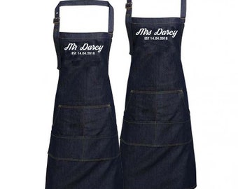Personalised Mr & Mrs Wedding Custom Denim Cooking / BBQ Bib Apron, Unisex