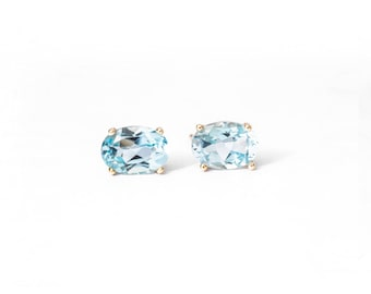 Real Topaz and Gold Stud Earrings, Blue Topaz Stud Earrings, Gold Stud Earrings, Oval Blue Topaz Earrings