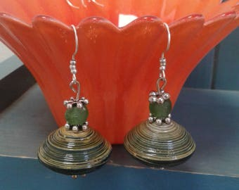 Green Mzuri Paper Bead and Recycled Green Glass Earrings