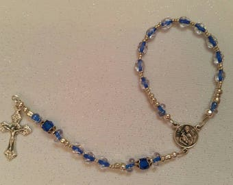 Blue And Clear Beaded St Rita Single Decade Rosary