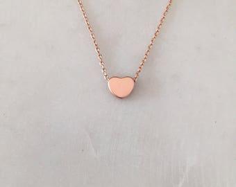 Rose Gold hören - minimalistischen Halskette - kleines Herzhalskette