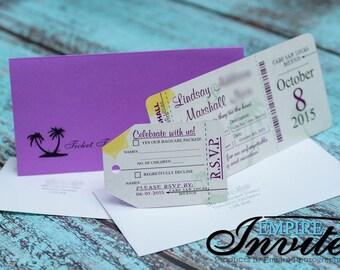 Boarding Pass Wedding Invitation, destination wedding invitation | Custom handmade in Canada by -- www.empireinvites.ca --