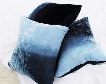 Ombre Silk Velvet Midnight Blue Black Throw Pillows