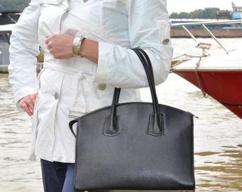BLACK LEATHER TOTE Bag, Black Leather Handbag, Black Leather Bag, Black Leather Purse, Woman Leather Bag, Woman Leather Handbag