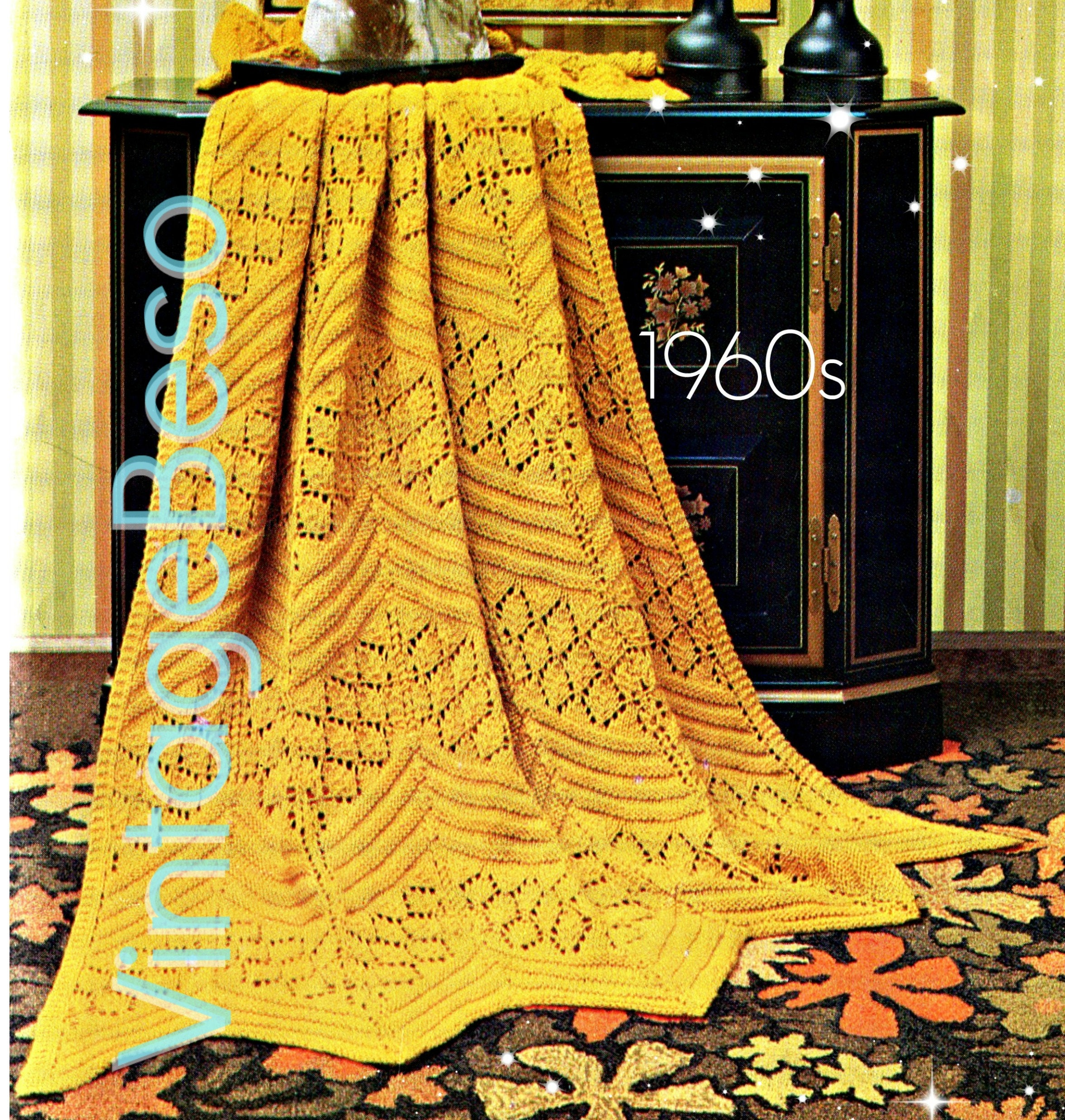 INSTANT DOWNlOAD • Afghan Knitting Pattern Vintage 1960s Chevron ...