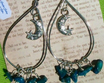 CRESCENT MOON Hoop earrings - Blue JADE nuggets, Teardrop hoops, RedRobinArt