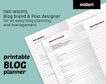 2x1 Blog PLANNER midori insert = monthly planner with post designer + blog management. MTN design for Travelers Notebook printable refill