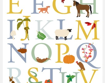 Alphabet poster Vermont animals and plants wild  cultivated 11 x 17 inches