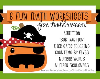 Halloween Math Worksheets Printable - Subtraction, Addition, Sequence, Number Words, Kindergarten, First Grade