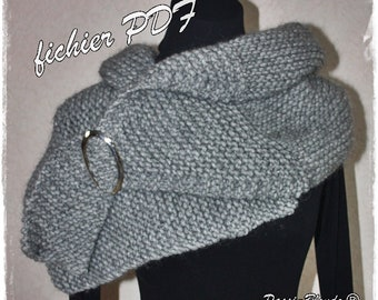PDF file baby, knitted snood. Beginner. Beginner. Knitting pattern snood. Instructions only.