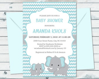 Elephant Baby Shower Printable Invitation, Blue And Grey Elephant Baby Shower Invite, Blue And Grey Chevron Baby Printable Invite