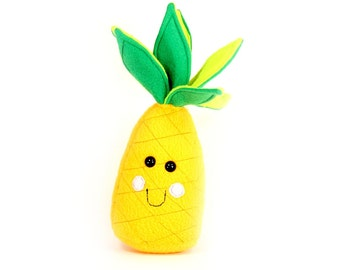 Pineapple plush play food, Cute Kawaii Pineapple Plushie, Adorable Fruit Soft Toy, Pineapple squishy toy, Handmade Kids room Decor Gift,