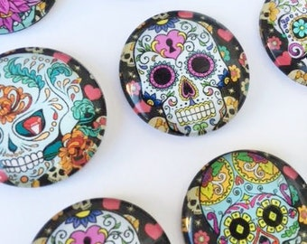 10 Skull Glass Cabochons Cabs 25mm Sugar Skulls Day of the Dead Dia De Los Muertes Halloween for jewelry Pendants Colorful Bracelets Magnets
