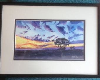 Sunrise, Original Watercolour,  Framed Painting