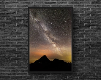 Night Mountains Photo - Starry Sky Photography - Starry Night Photo - Night Sky - Vertical Photo - Astronomy Wall Decor - Starry Wall Decor